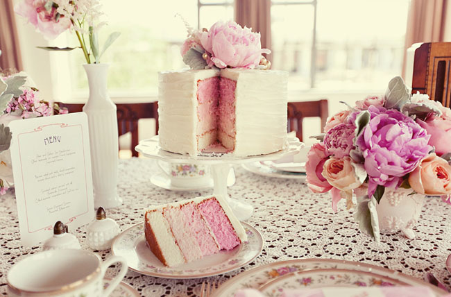 cake with pink layers