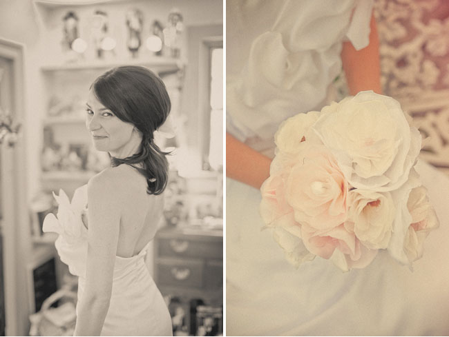 bride with paper flower bouquet