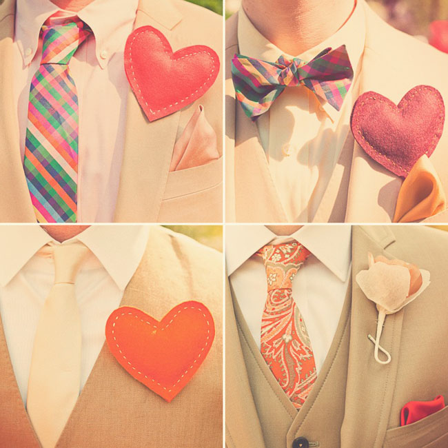 heart boutonnieres for groomsmen