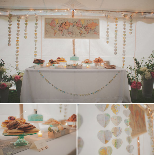 wedding dessert table with maps