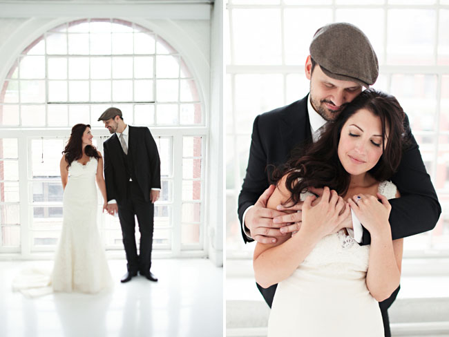 bride and groom with newsboy hat