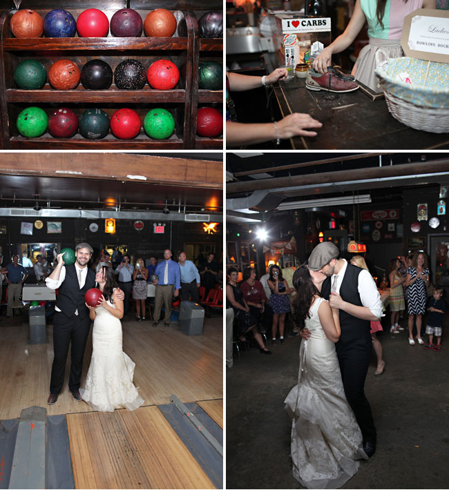 wedding reception at bowling alley