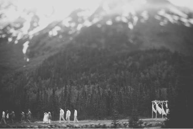 alaska wedding in black and white