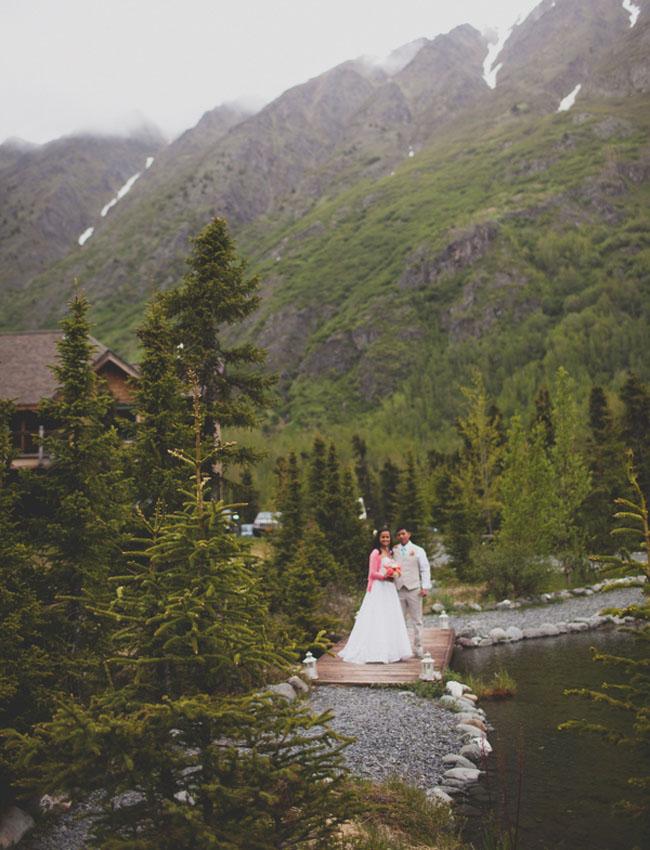 alaska wedding bride and groom