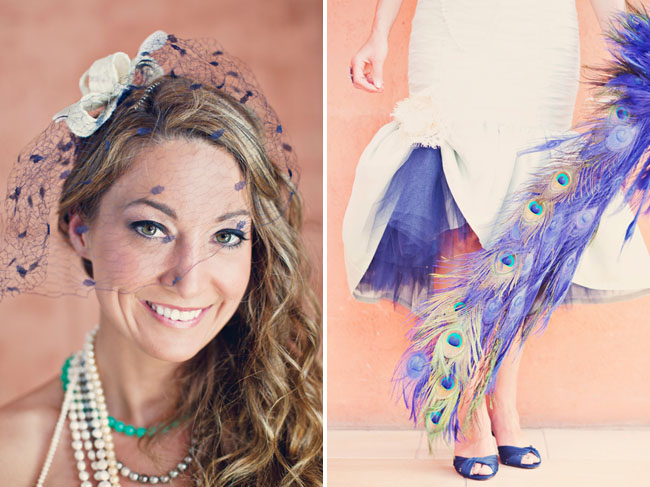 bride with ostrich feather bouquet