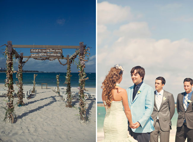 beach ceremony structure with driftwood