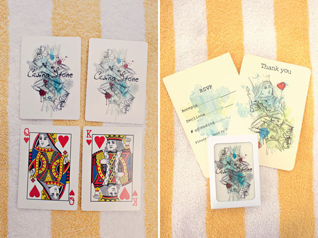 wedding invitations on playing cards