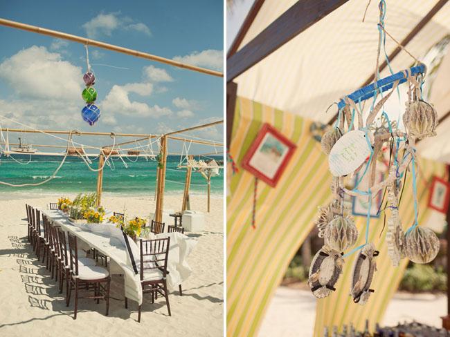 beach wedding reception on the beach