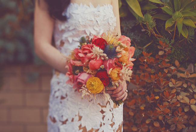 pink red yellow bouquet