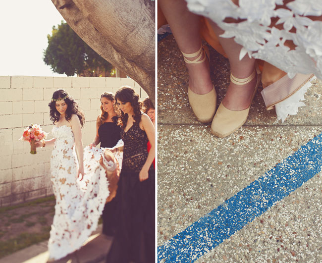 bride with ballet shoes
