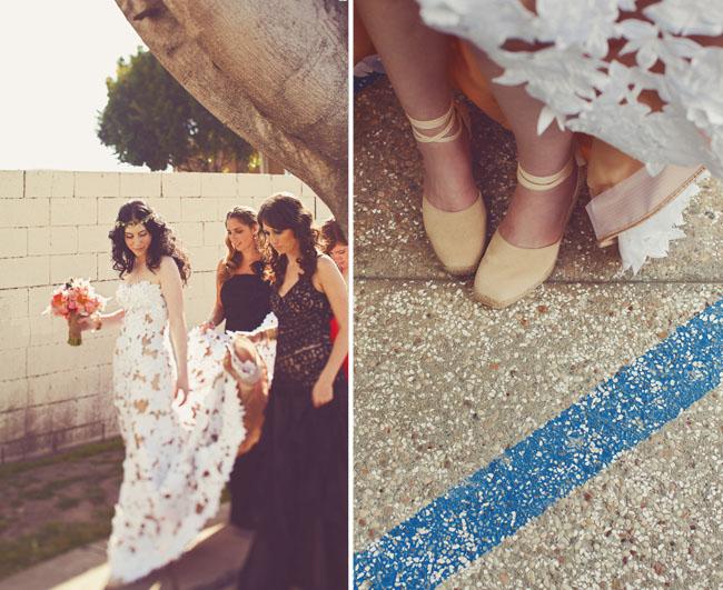 Bride With Ballet Shoes Bridesmaids In Vintage Dresses