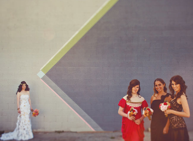 bridesmaids in vintage dresses