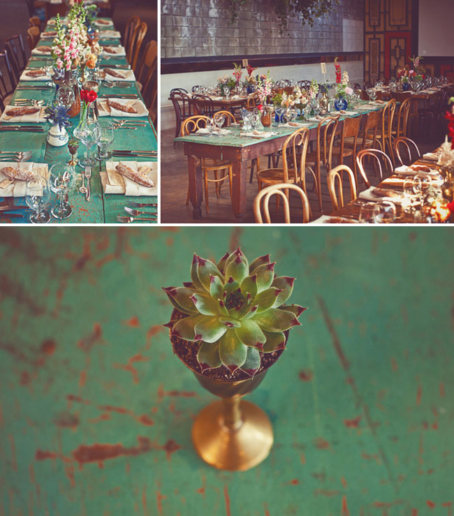 bohemian wedding reception tables