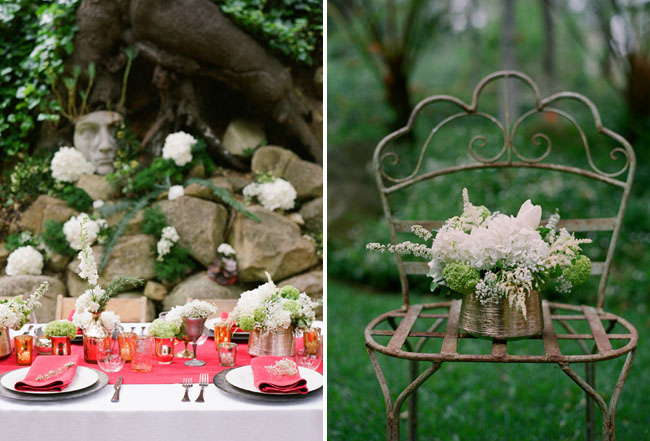 wedding table with red and green colors outdoors