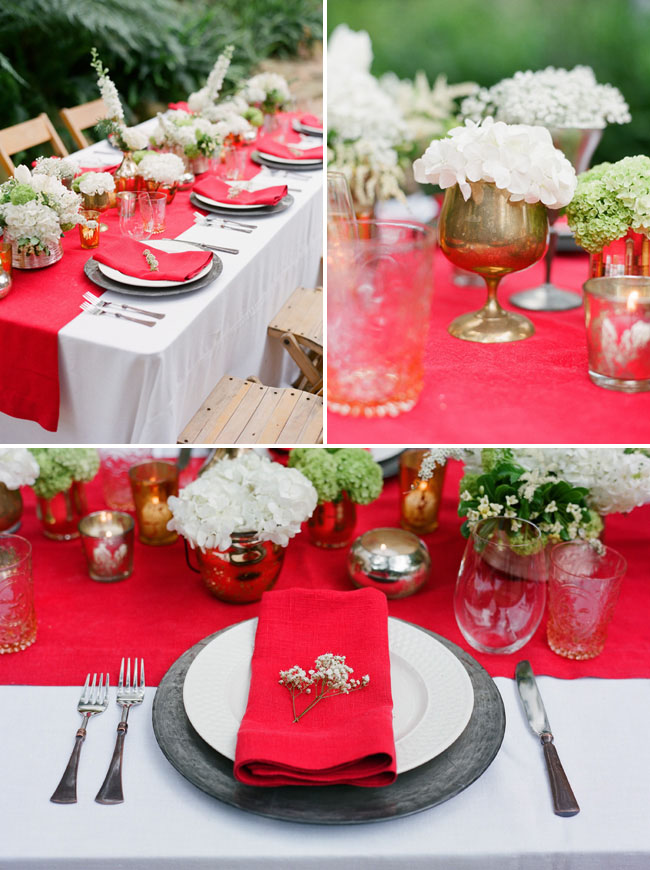 wedding table with red and white colors outdoors