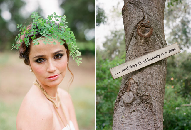 bride with clovers flowers in her hair