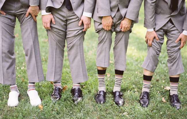 groomsmen with striped socks