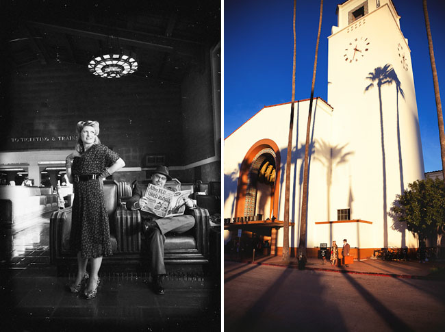 engagement photos at union station los angeles