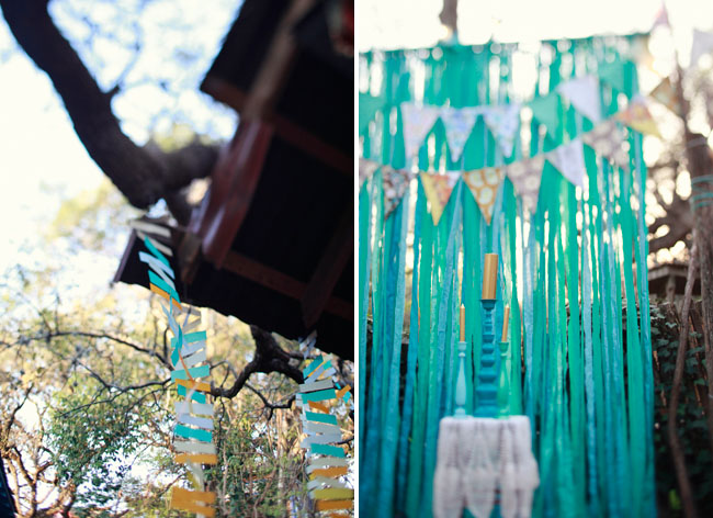 blue and yellow bunting at wedding