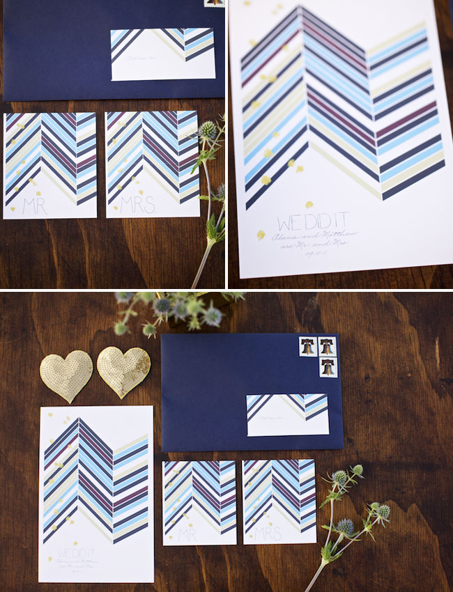 wedding invitations chevron print