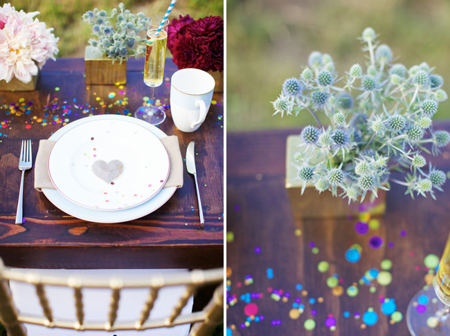 sparkly wedding dinner table sequin heart