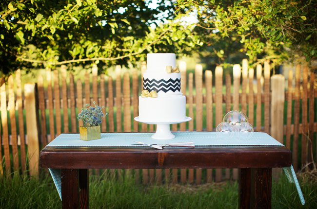 wedding cake with chevron print