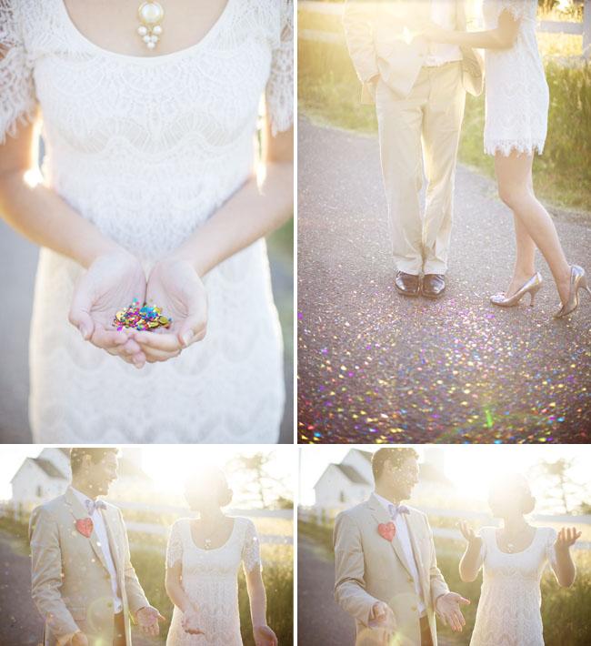 confetti bride and groom