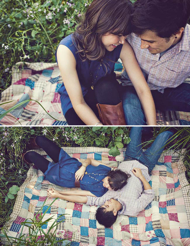 engagement photos on a blanket