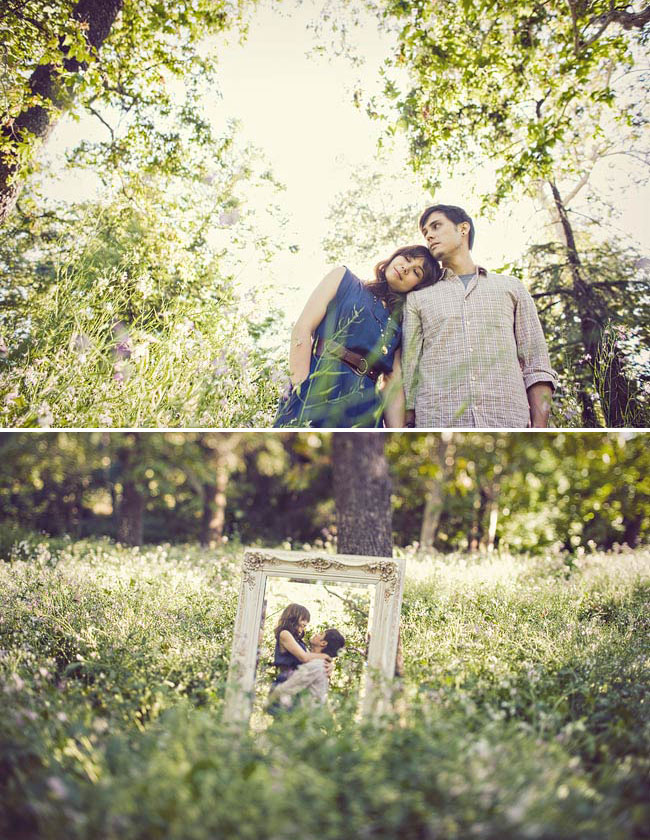 engagement photos with a picture frame