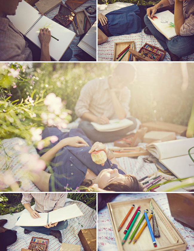 engagement photos while drawing