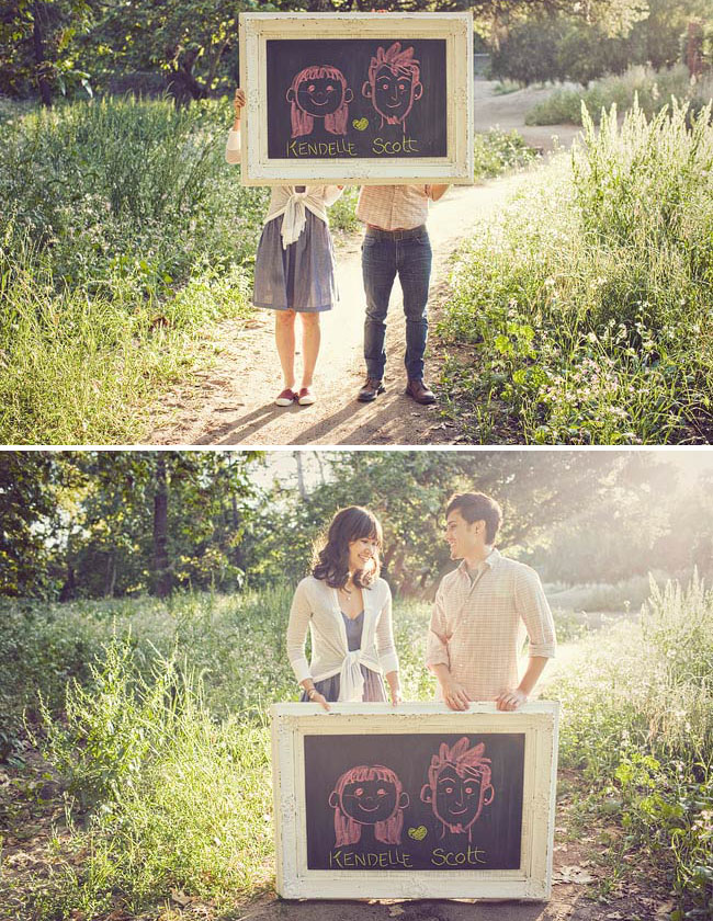 engagement-photos-with chalkboard illustrations