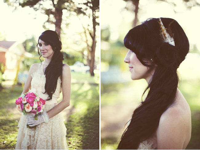 bride with feathers in her hair