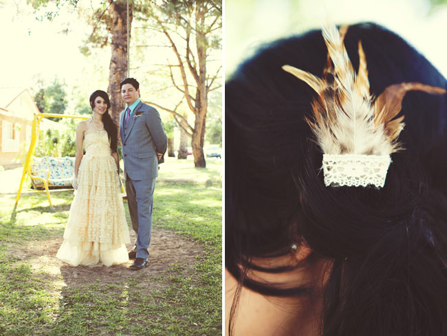 vintage wedding dress feather in hair