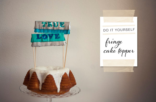 DIY fringe cake topper