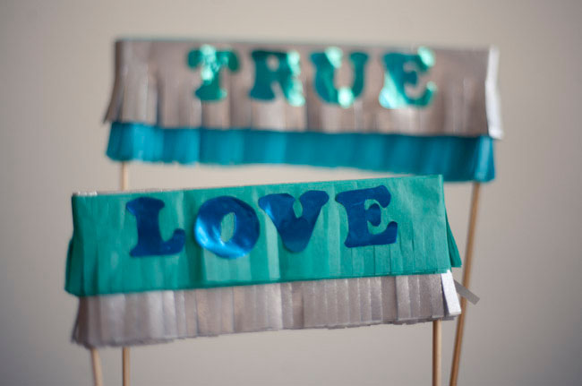 true love DIY fringe cake topper