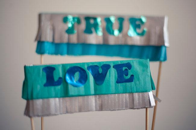 true love DIY fringe cake topper
