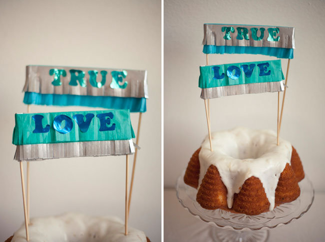 true love fringe cake topper bundt cake
