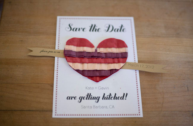 fringe heart wedding save the date