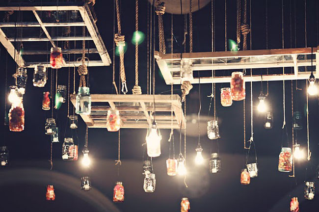 light bulbs hanging for wedding