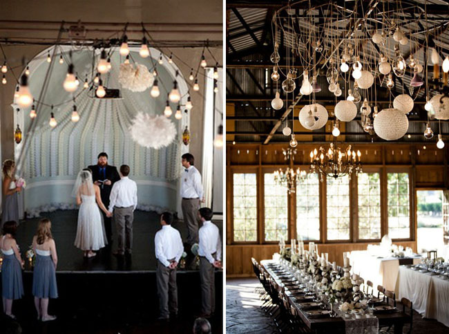 light bulbs hanging for wedding ceremony