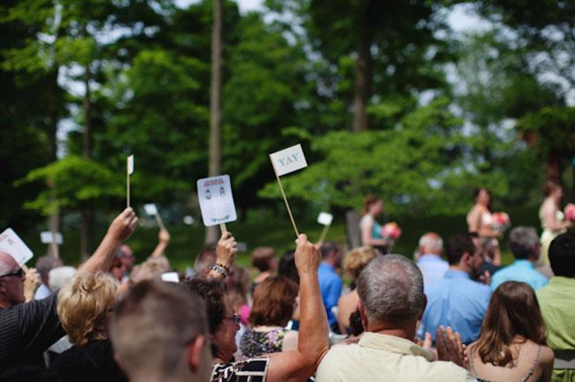 waving flags at wedding