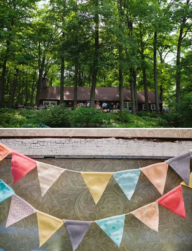 colorful bunting flags wedding