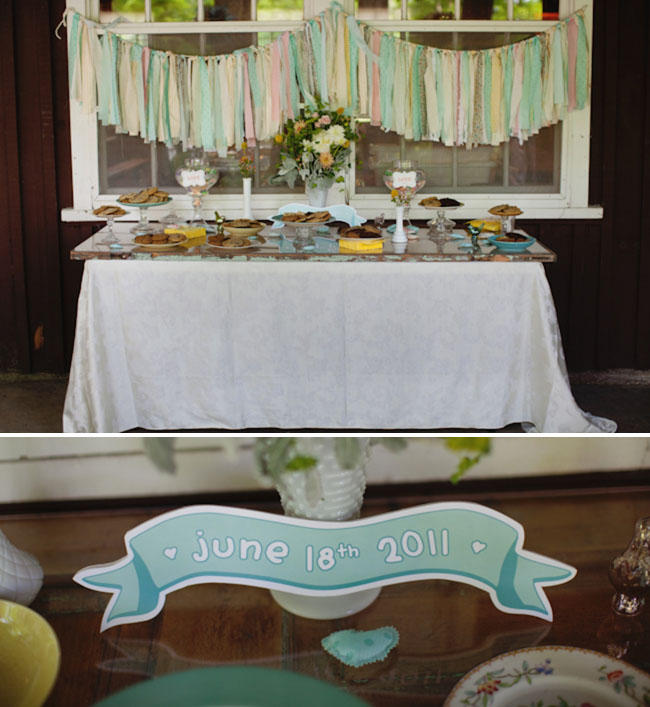 cake table with ribbons