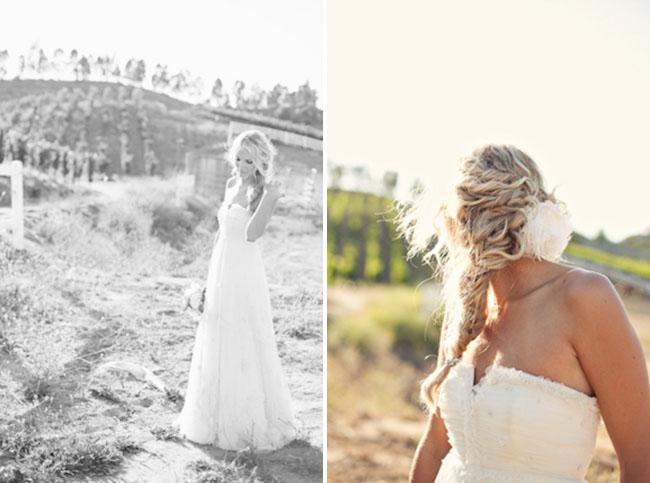 rustic wedding bride in wedding dress