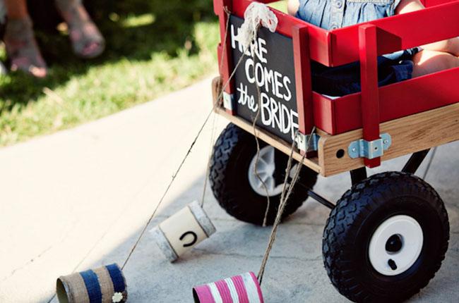 here comes the bride wagon