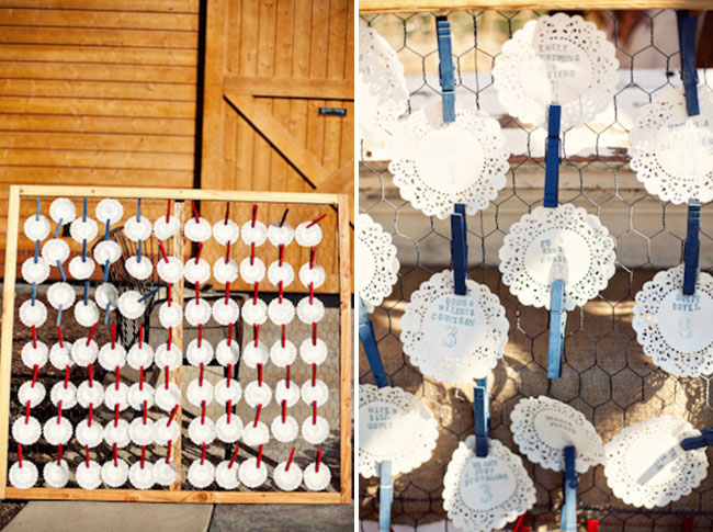 doily place cards wedding