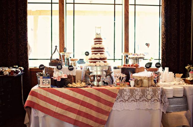 americana wedding dessert table