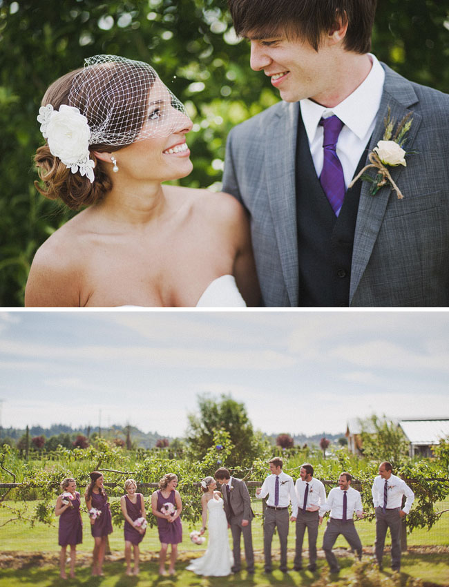 bridal party in purple bridesmaids dresses