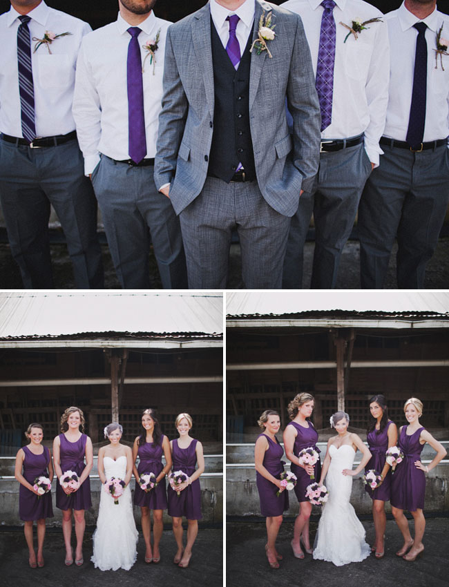 bridal party in purple bridesmaids dresses