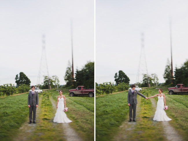 bride and groom married on farm